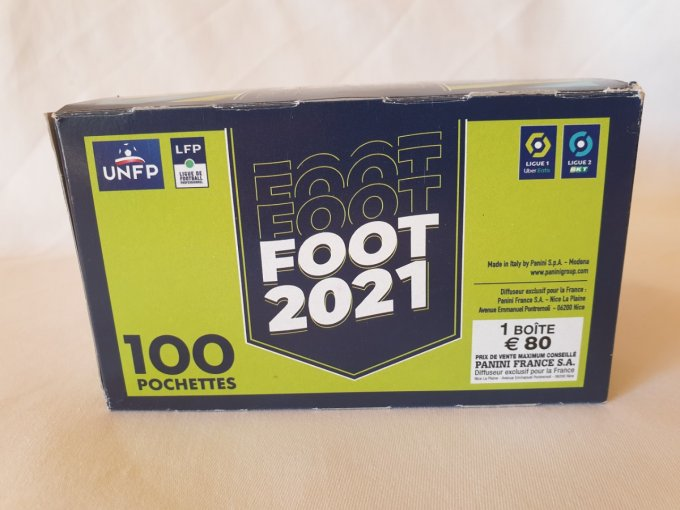 Panini Foot 2021 championnat de France box display 100 pochettes