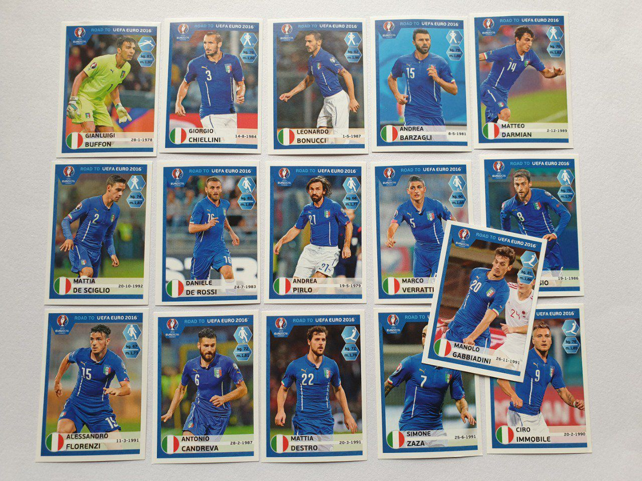Complet Team ITALY panini Road to Euro 2016